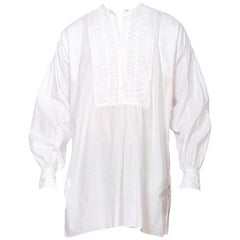 Victorian White Organic Cotton Men's 1850'S Or Earlier Hand Embroidered Shirt