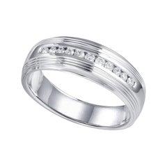 Mens 18 Karat White Gold Diamond Wedding Band Ring
