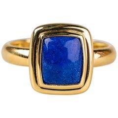 Men's 18 Karat Yellow Gold Lapis Lazuli Ring