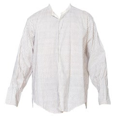 Mens 1910 1920 Edwardian French Cuff Cotton Shirt With Pinstripes