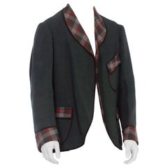 Men's 1910/20's Wool Plaid Smoking Jacket