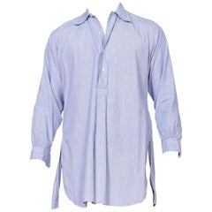 Mens 1920's 1930's Point Collar Pullover Distressed Organic Cotton Shirt