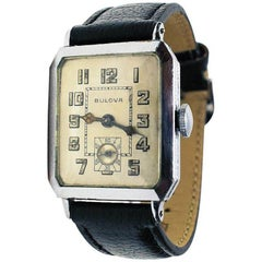 Men's 1928 Art Deco 14 Karat Gold Filled Bulova Wristwatch