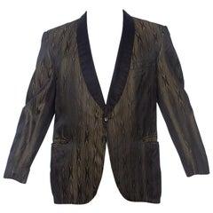 1950S Black & Gold Rayon Blend Men's Rat Pack Rockabilly Tuxedo Dinner Jacket