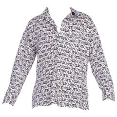 Mens 1970s Large Stretchy Silky Polyester Disco Shirt