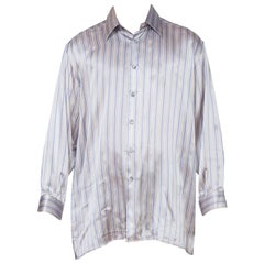 Mens 1990's Versace Style Silk Satin Stripe Shirt
