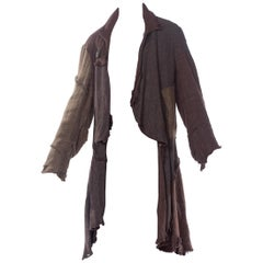 1990'S VIVIENNE WESTWOOD Brown Metallic Linen Blend Deconstructed Mud Style Uni