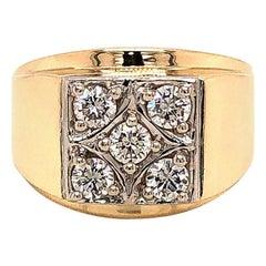 Men's 5 Diamond Ring in 14 Karat and Platinum