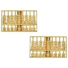 Men's Abacus Yellow Gold Cufflinks