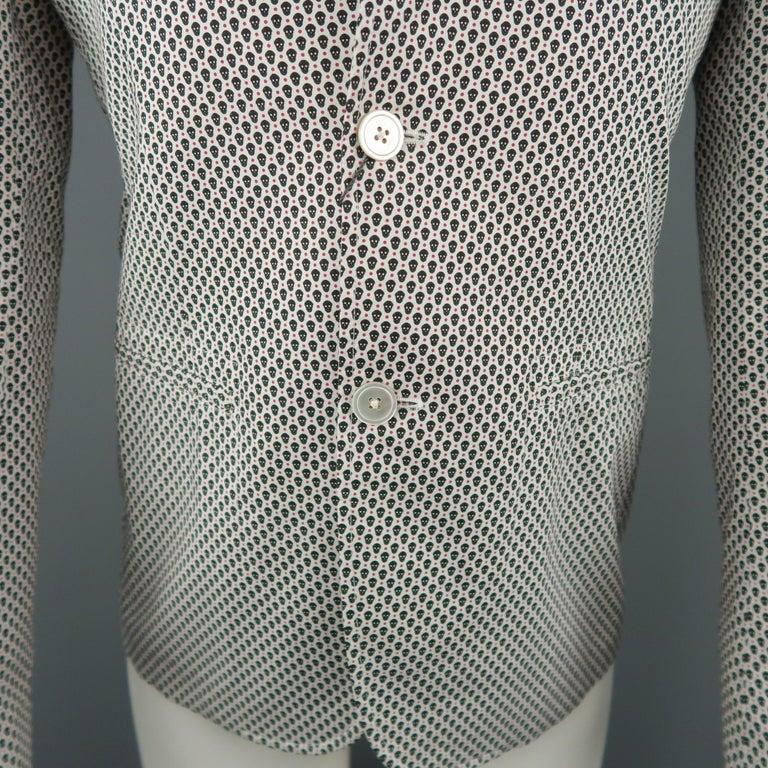 Gray Men's ALEXANDER MCQUEEN 34 White Black & Red Skull Spot Print Cotton Sport Coat For Sale