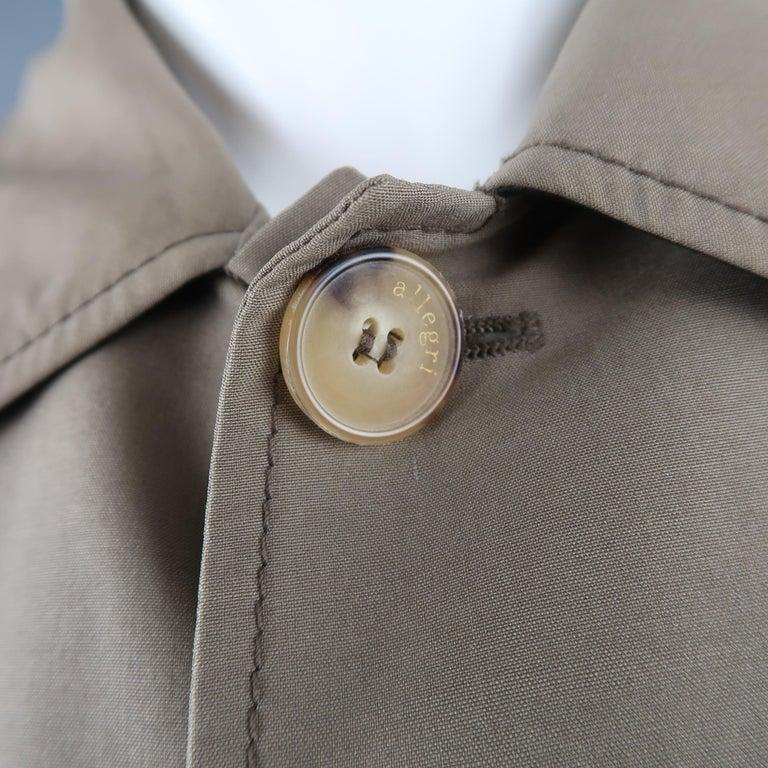 Men's ALLEGRI 40 Dark Khaki Light Weight Wool Blend Car Coat In Good Condition For Sale In San Francisco, CA