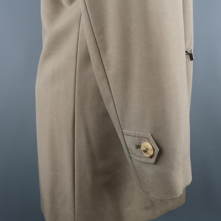 Men's ALLEGRI 40 Dark Khaki Light Weight Wool Blend Car Coat For Sale 2