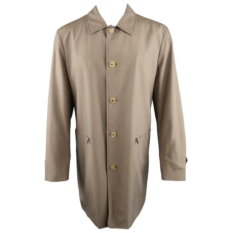 Men's ALLEGRI 40 Dark Khaki Light Weight Wool Blend Car Coat For Sale
