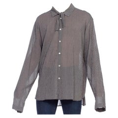 2000S ANN DEMEULEMEESTER Rayon Crepe Men's Oversized Bow Neck Shirt
