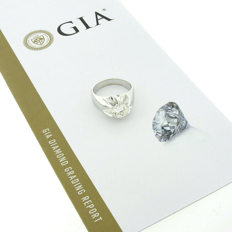 Men's Antique 14k White Gold 2.47ct GIA Belcher Set Diamond Solitaire Gypsy Ring For Sale 6