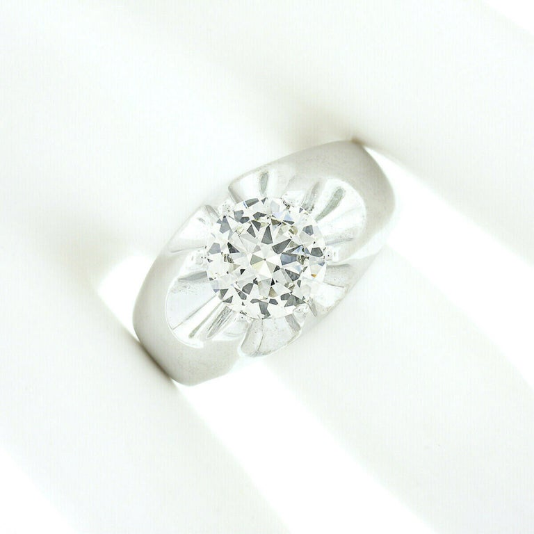 Round Cut Men's Antique 14k White Gold 2.47ct GIA Belcher Set Diamond Solitaire Gypsy Ring For Sale