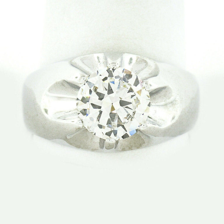 Men's Antique 14k White Gold 2.47ct GIA Belcher Set Diamond Solitaire Gypsy Ring In Good Condition For Sale In Montclair, NJ