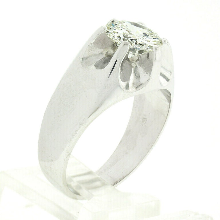 Men's Antique 14k White Gold 2.47ct GIA Belcher Set Diamond Solitaire Gypsy Ring For Sale 1