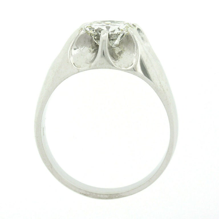 Men's Antique 14k White Gold 2.47ct GIA Belcher Set Diamond Solitaire Gypsy Ring For Sale 2
