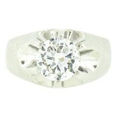 Men's Antique 14k White Gold 2.47ct GIA Belcher Set Diamond Solitaire Gypsy Ring