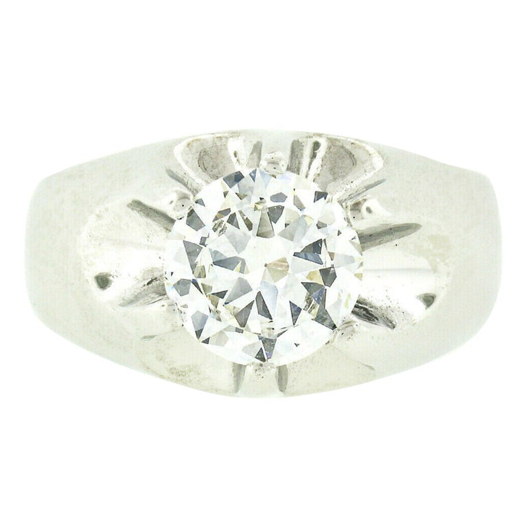 Men's Antique 14k White Gold 2.47ct GIA Belcher Set Diamond Solitaire Gypsy Ring For Sale