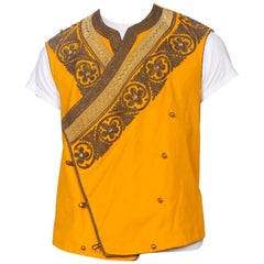 Edwardian Mustard Yellow Wool Antique Mens Silk Lined Military Vest With Gold M