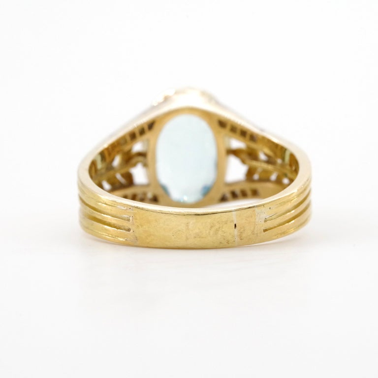 Aquamarine Ring from France, circa 1910 For Sale 6