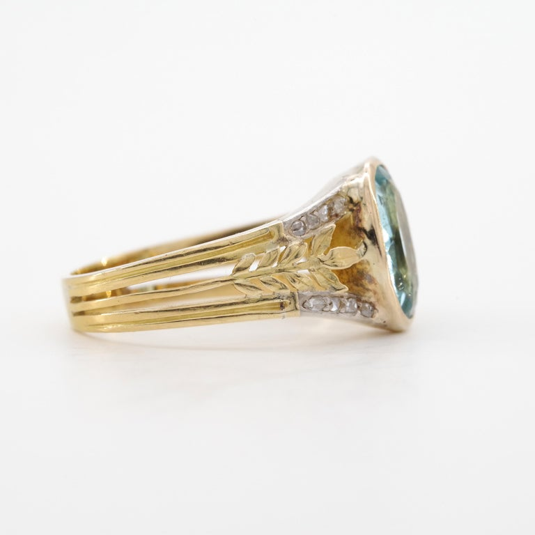 Aquamarine Ring from France, circa 1910 For Sale 7