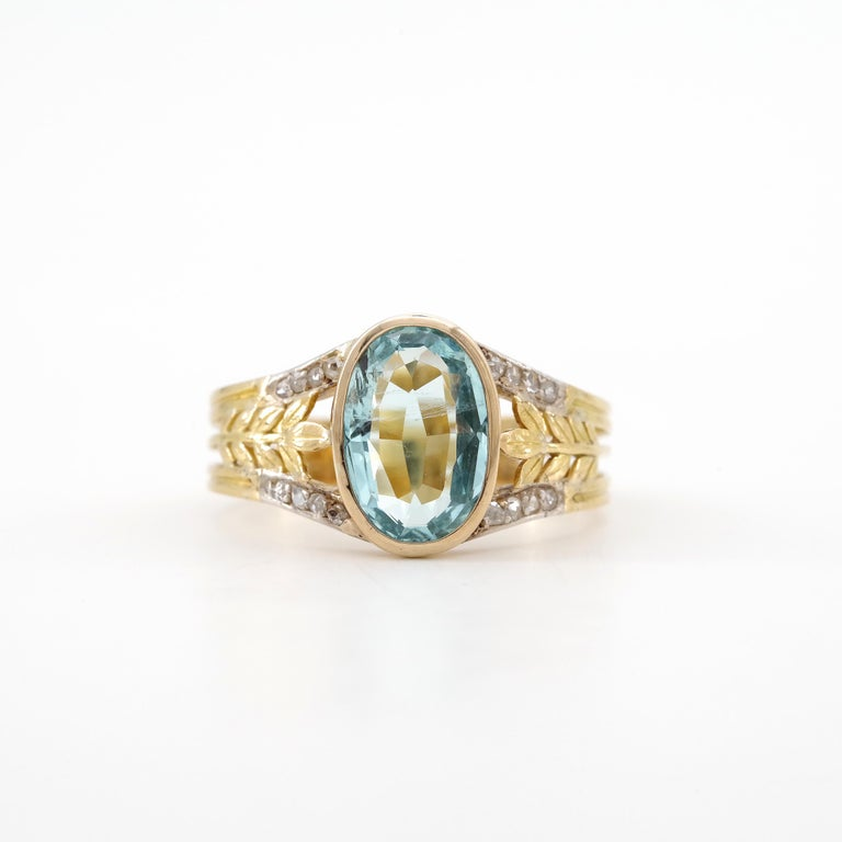 Aquamarine Ring from France, circa 1910 For Sale 8