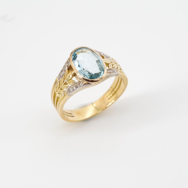 Aquamarine Ring from France, circa 1910 For Sale 9