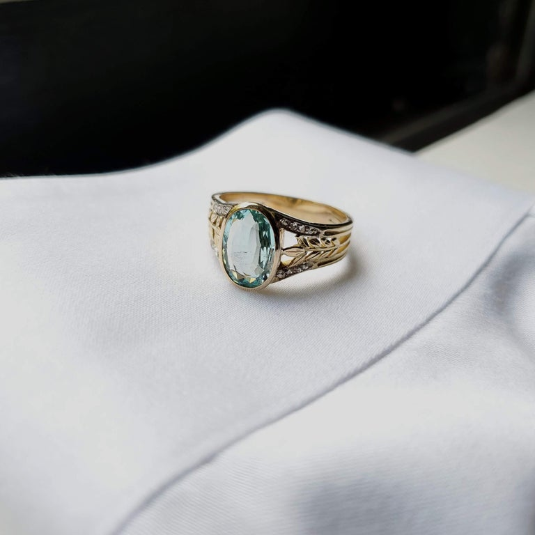 Aquamarine Ring from France, circa 1910 For Sale 11