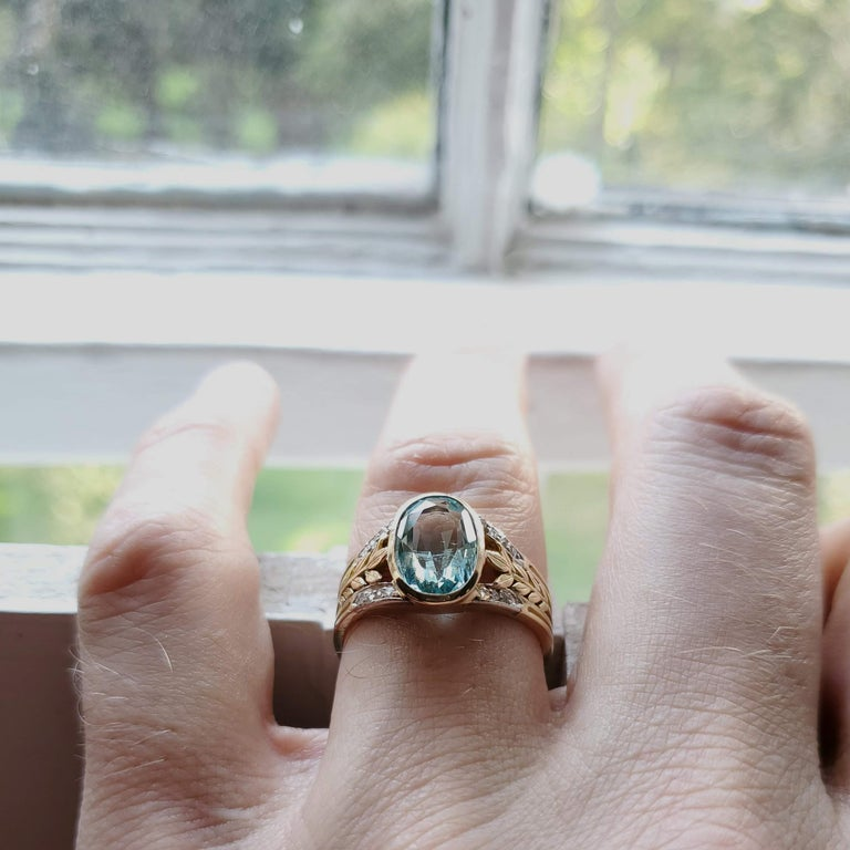 Aquamarine Ring from France, circa 1910 For Sale 12