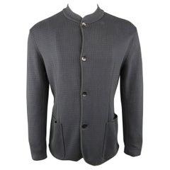 Men's ARMANI COLLEZIONI 40 Navy Print Knit Band Collar Cardigan Jacket