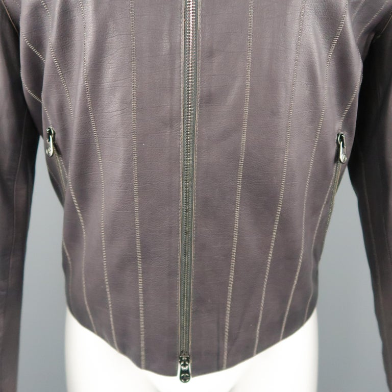 Gray Men's ARMANI COLLEZIONI 40 Purple Stitched Leather Biker Jacket For Sale