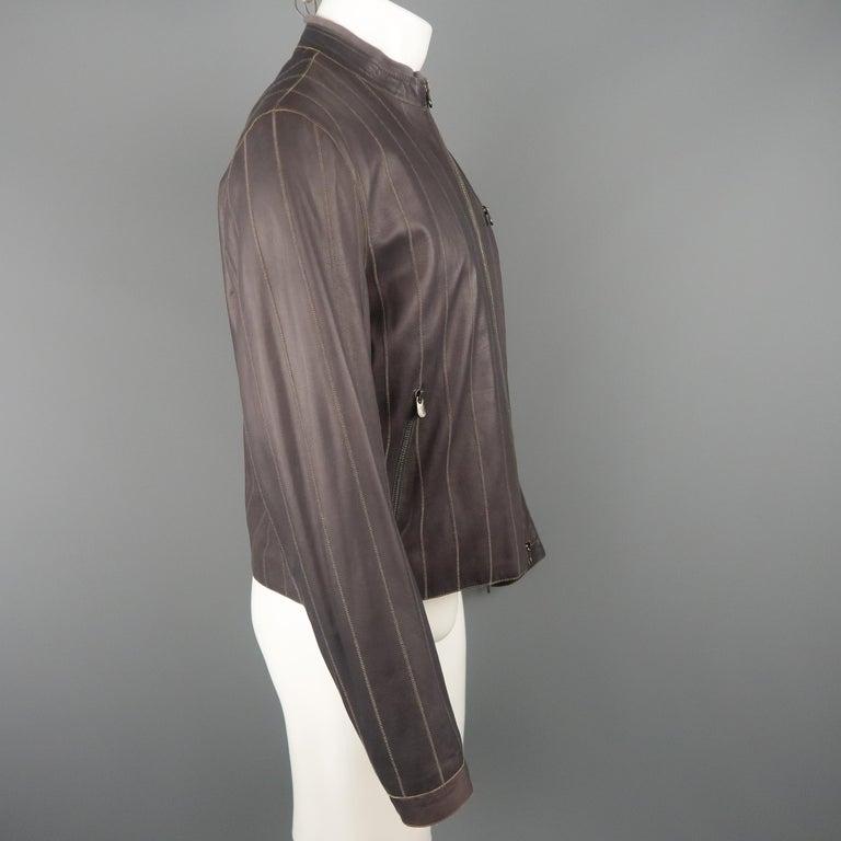 Men's ARMANI COLLEZIONI 40 Purple Stitched Leather Biker Jacket In Excellent Condition For Sale In San Francisco, CA