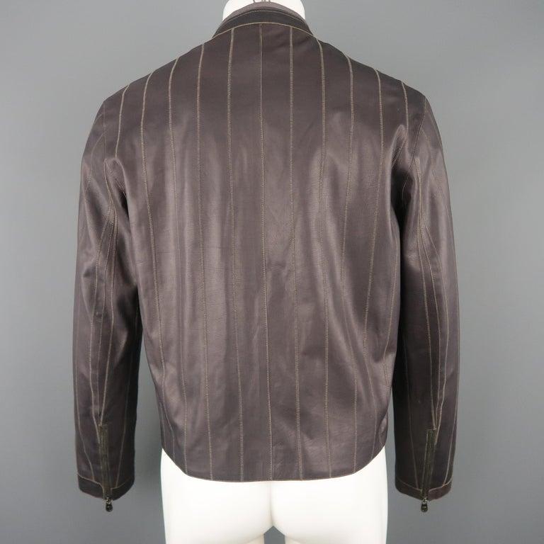 Men's ARMANI COLLEZIONI 40 Purple Stitched Leather Biker Jacket For Sale 1
