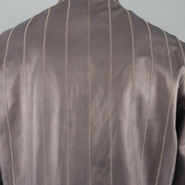 Men's ARMANI COLLEZIONI 40 Purple Stitched Leather Biker Jacket For Sale 2