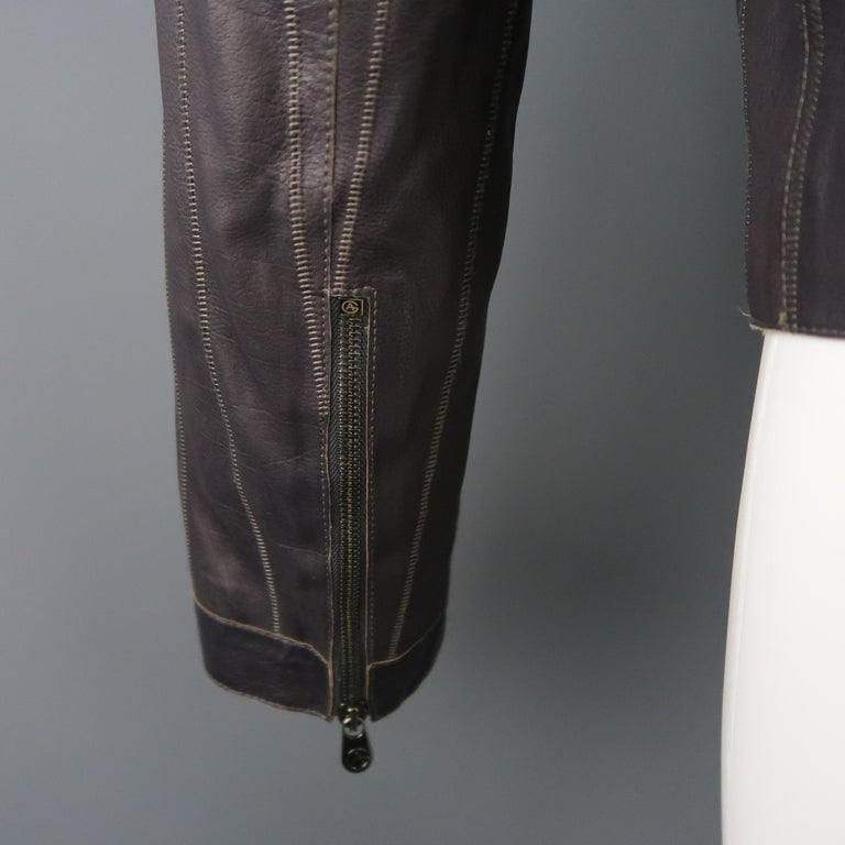 Men's ARMANI COLLEZIONI 40 Purple Stitched Leather Biker Jacket For Sale 3