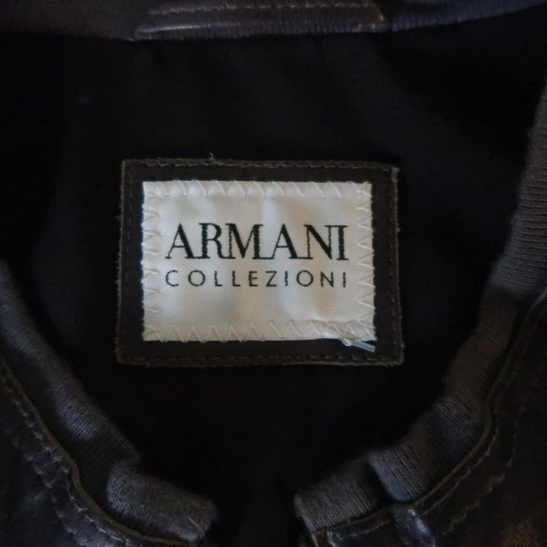 Men's ARMANI COLLEZIONI 40 Purple Stitched Leather Biker Jacket For Sale 4