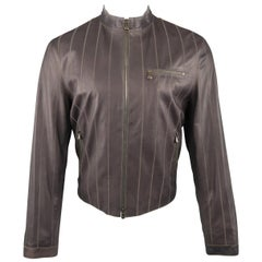 Men's ARMANI COLLEZIONI 40 Purple Stitched Leather Biker Jacket