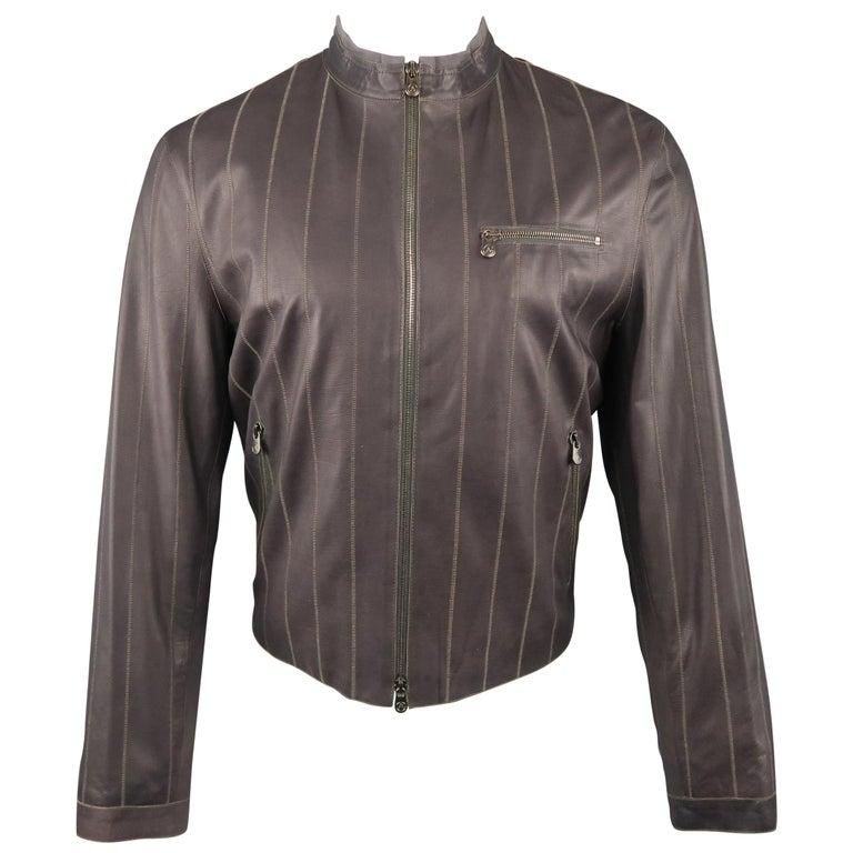 Men's ARMANI COLLEZIONI 40 Purple Stitched Leather Biker Jacket For Sale