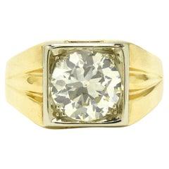 Men's Art Deco 4.25 Carat Diamond Ring Solitaire Pinky Ring Square Setting Large