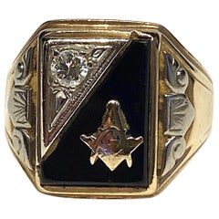 Mens Art Deco Masonic Gold, Diamond and Onyx Ring