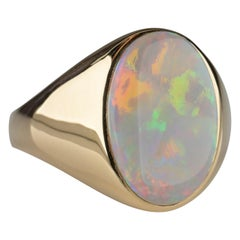 Men's Australian White Opal Ring with Full Spectrum Broad Flash
