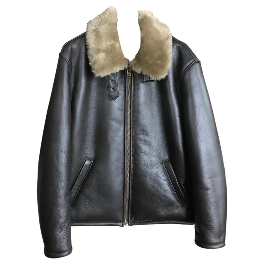 Mens Aviator Shearling Jacket in Brown - Size 40 UK