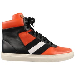 Men's BALLY Size 11.5 Orange & Black Leather & Suede Stripe High Top Sneakers