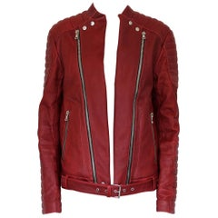 Men's Balmain Red Leather Biker Jacket 52