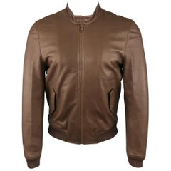 Men's BAND OF OUTSIDERS S Brown Leather Bomber Jacket NWT