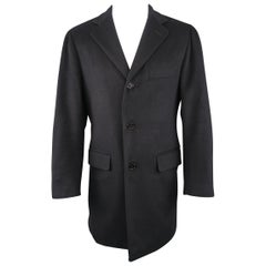 Men's BARNEY'S NEW YORK 38 Deep Navy Cashmere Notch Lapel Coat