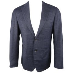 Men's BARNEY'S NEW YORK 38 Short Navy Plaid Wool / Camel Notch Lapel Sport Coat